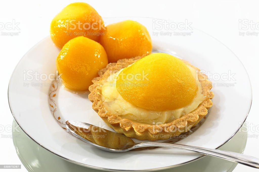 Peach Tart Portion Served stock photo