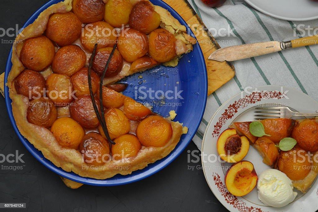 Peach tarte tatin stock photo
