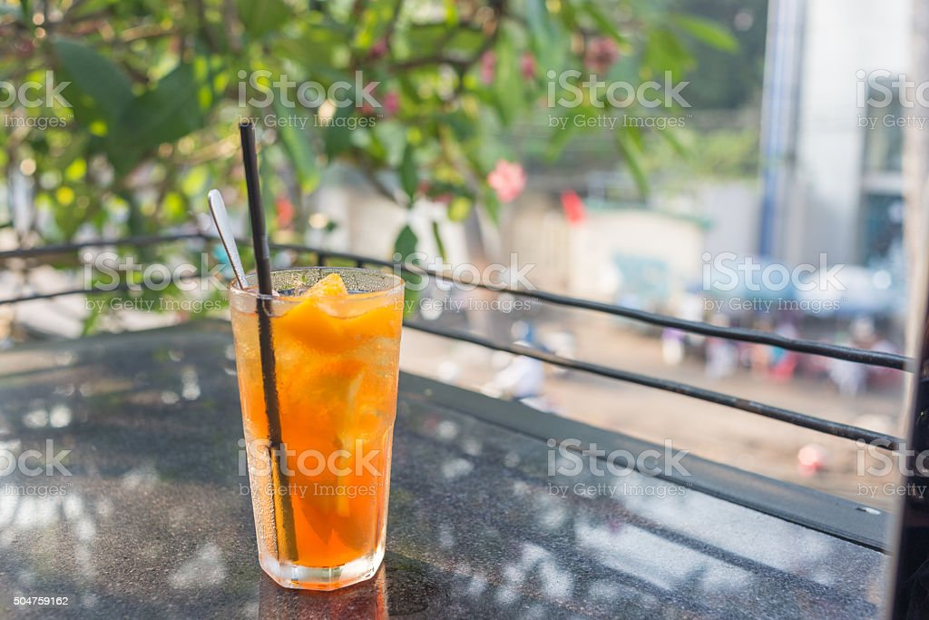 Peach tea is the favorite beverage in summer stock photo