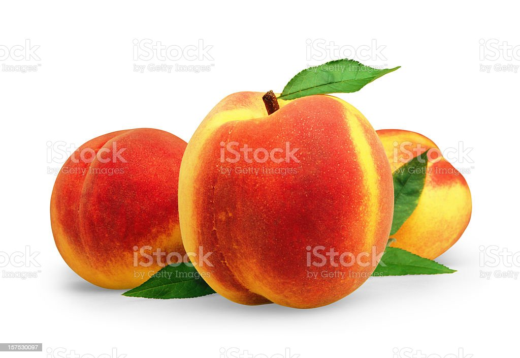 Peach three with Leafs royalty-free stock photo