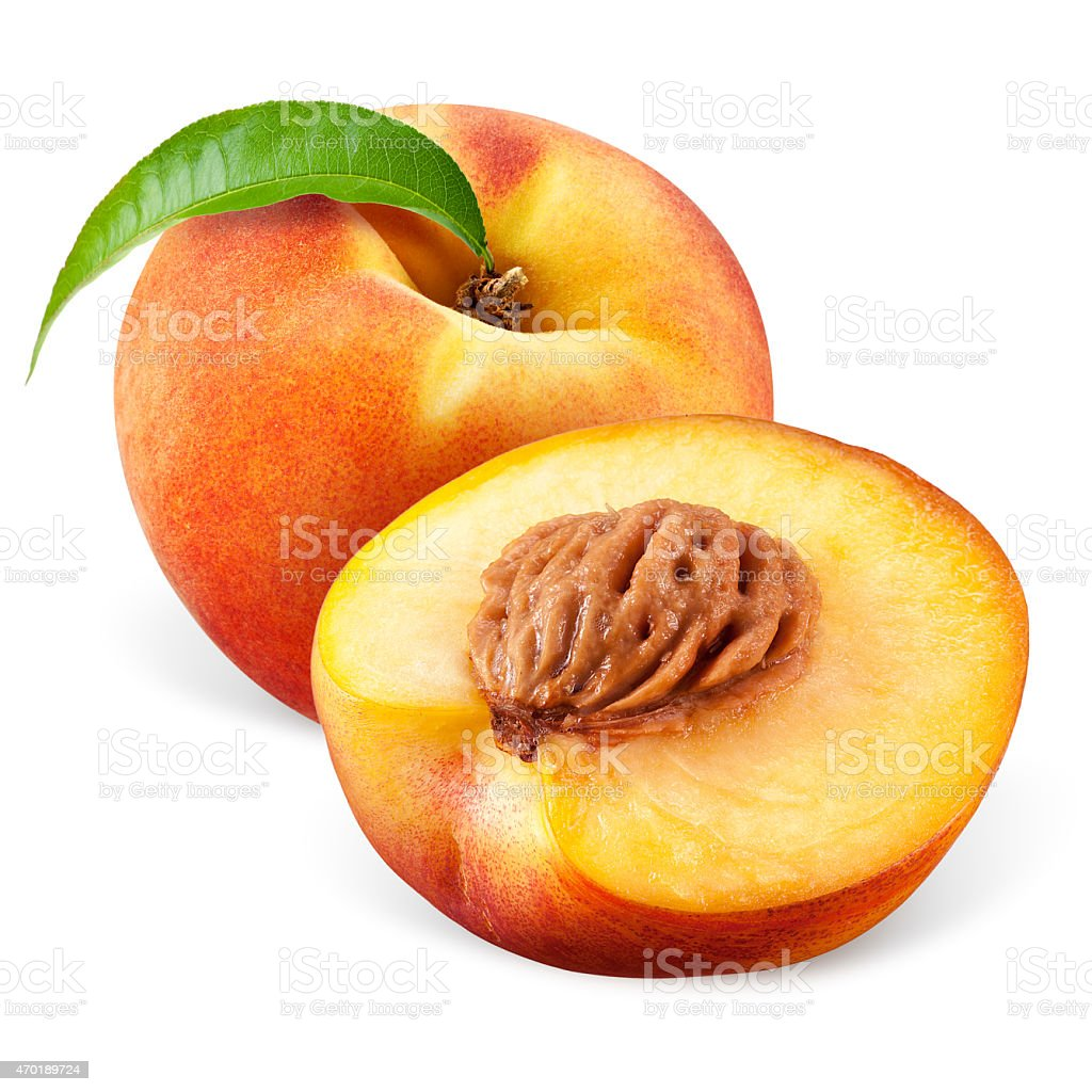 Peach with a half isolated on white background stock photo