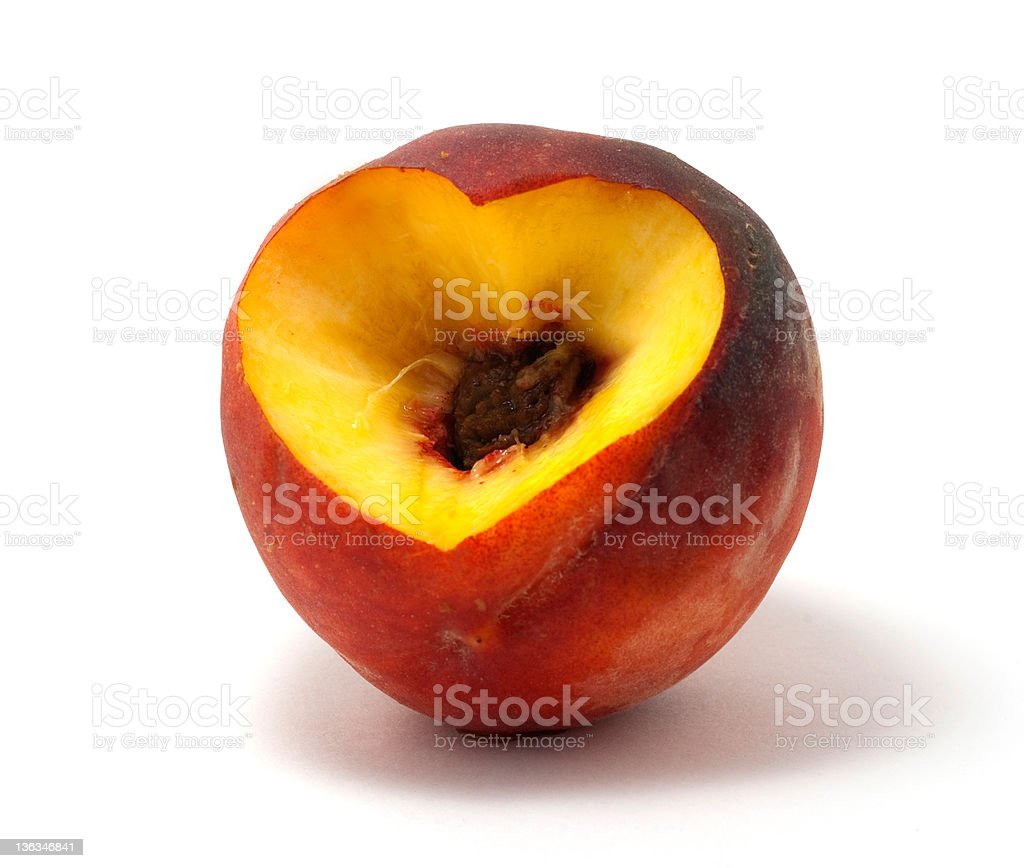 Peach with Heart Cut royalty-free stock photo