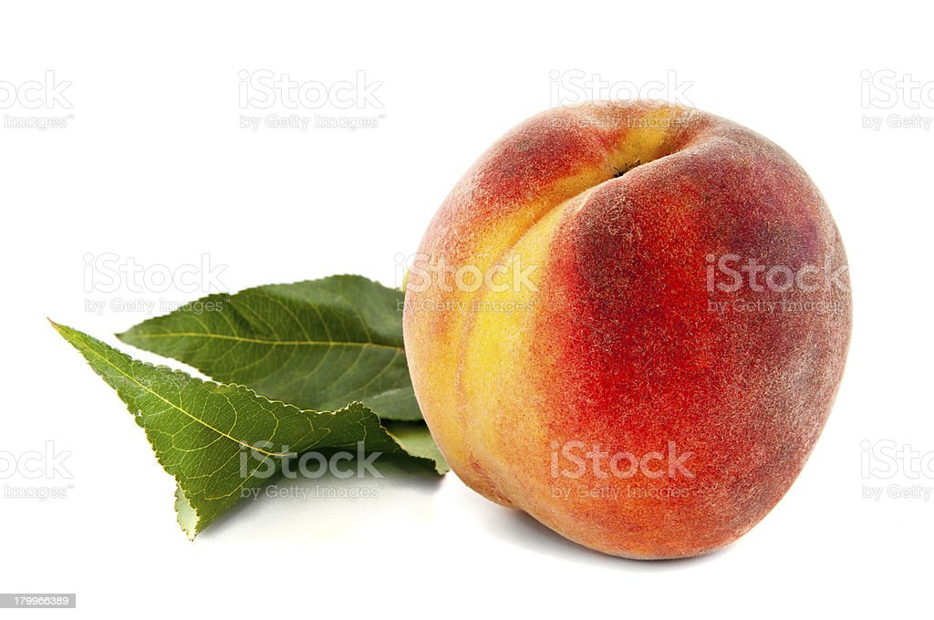 peach with leaves royalty-free stock photo
