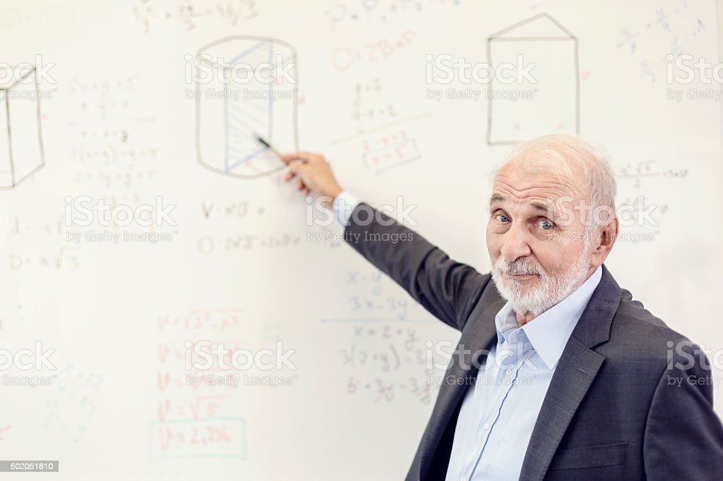 Peacher writing on the blackboard stock photo