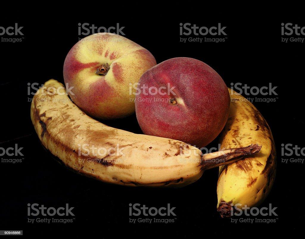 Peaches and Bananas royalty-free stock photo