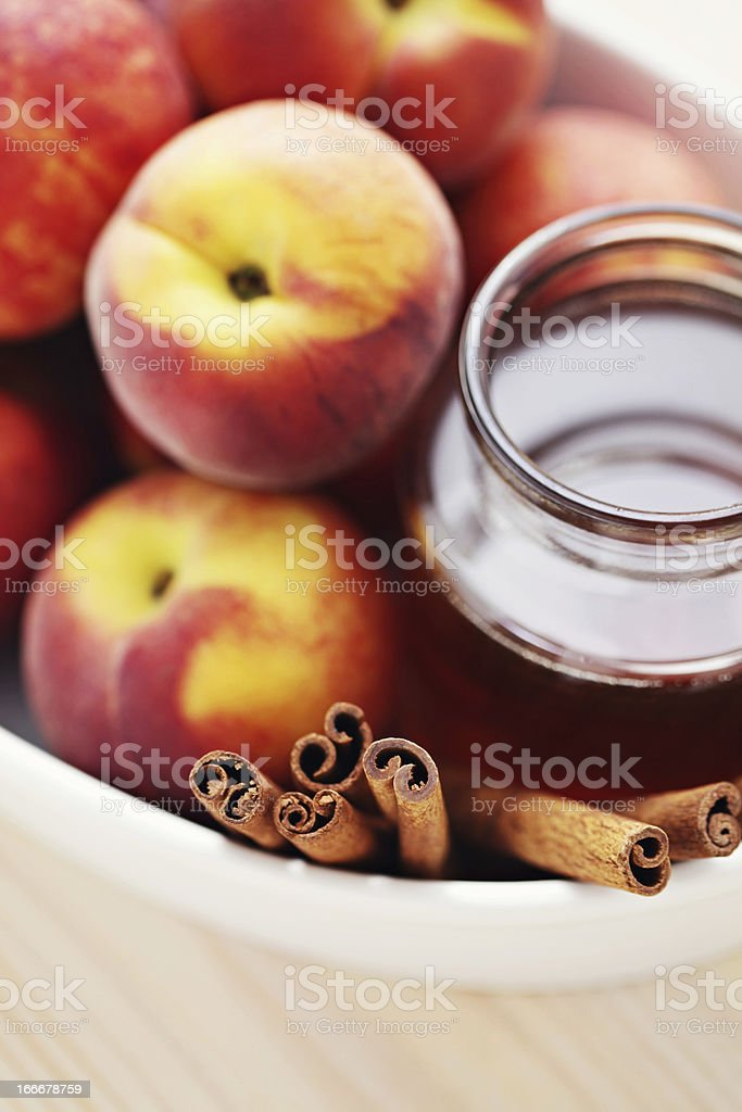 peaches and honey royalty-free stock photo
