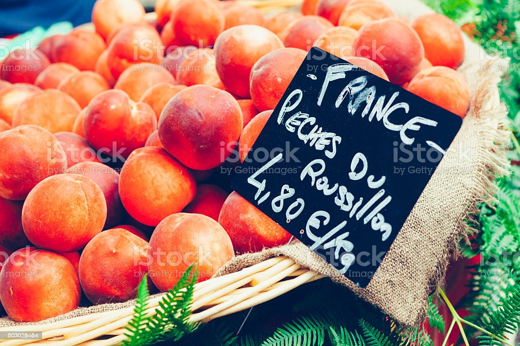 Peaches at a French market stock photo
