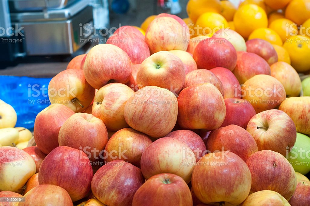 Peaches at farmers market stock photo