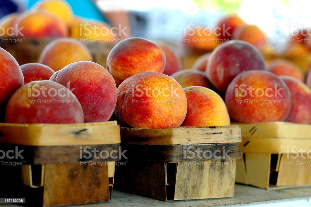 Peaches at the market stock photo
