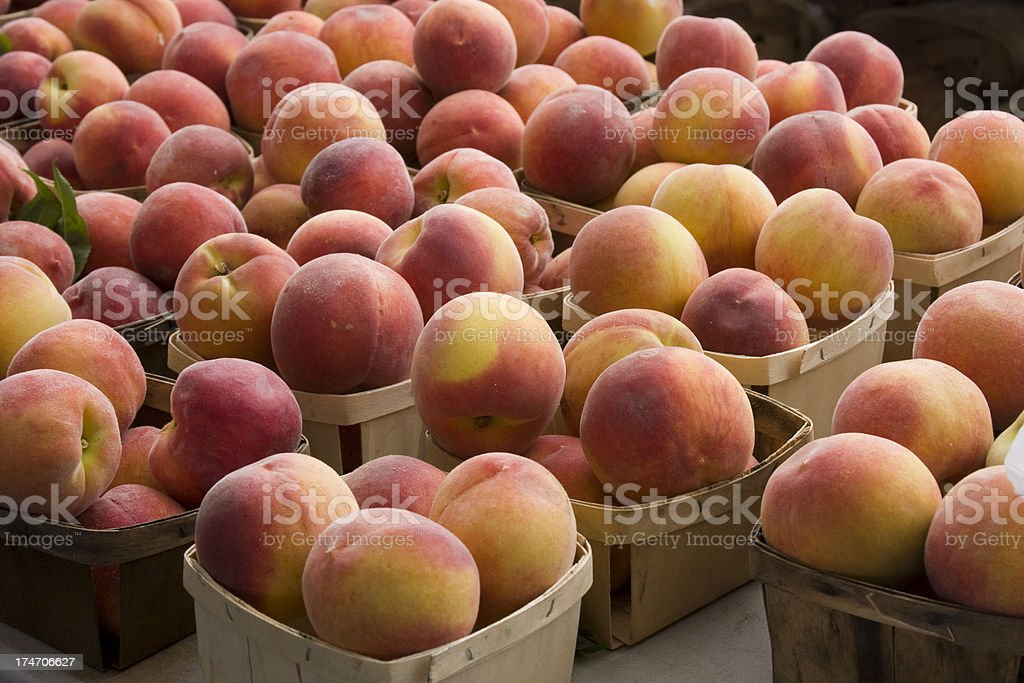 Peaches in Baskets royalty-free stock photo