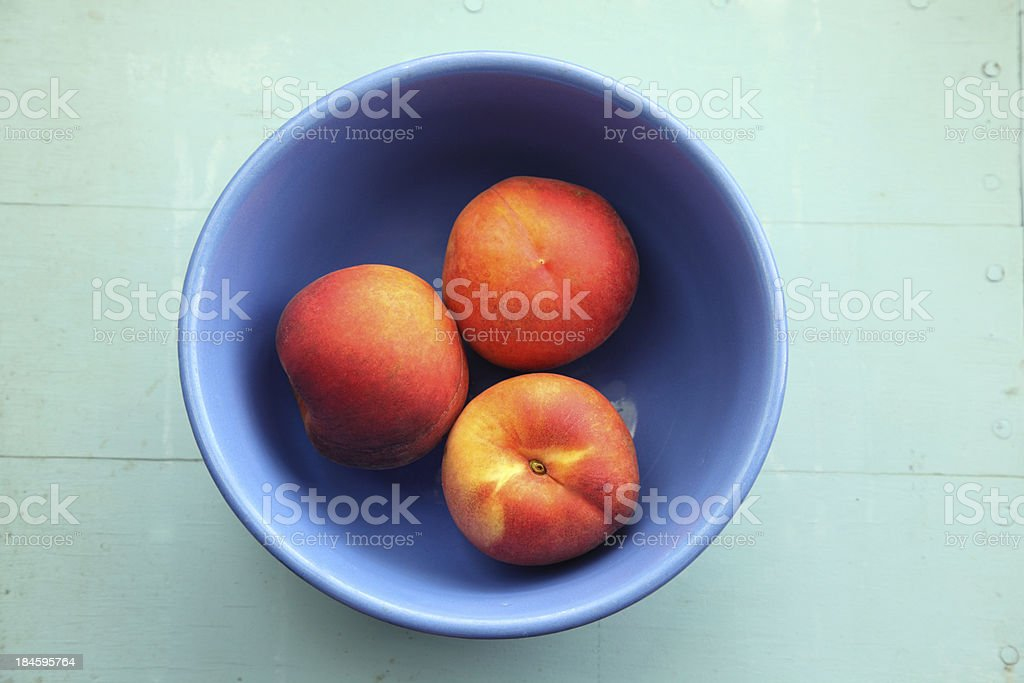 Peaches in Bowl stock photo
