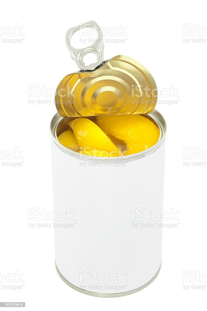 Peaches in Metal Food Can with Top Open Blank Label stock photo