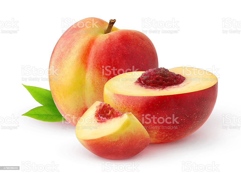 Peaches isolated on white stock photo