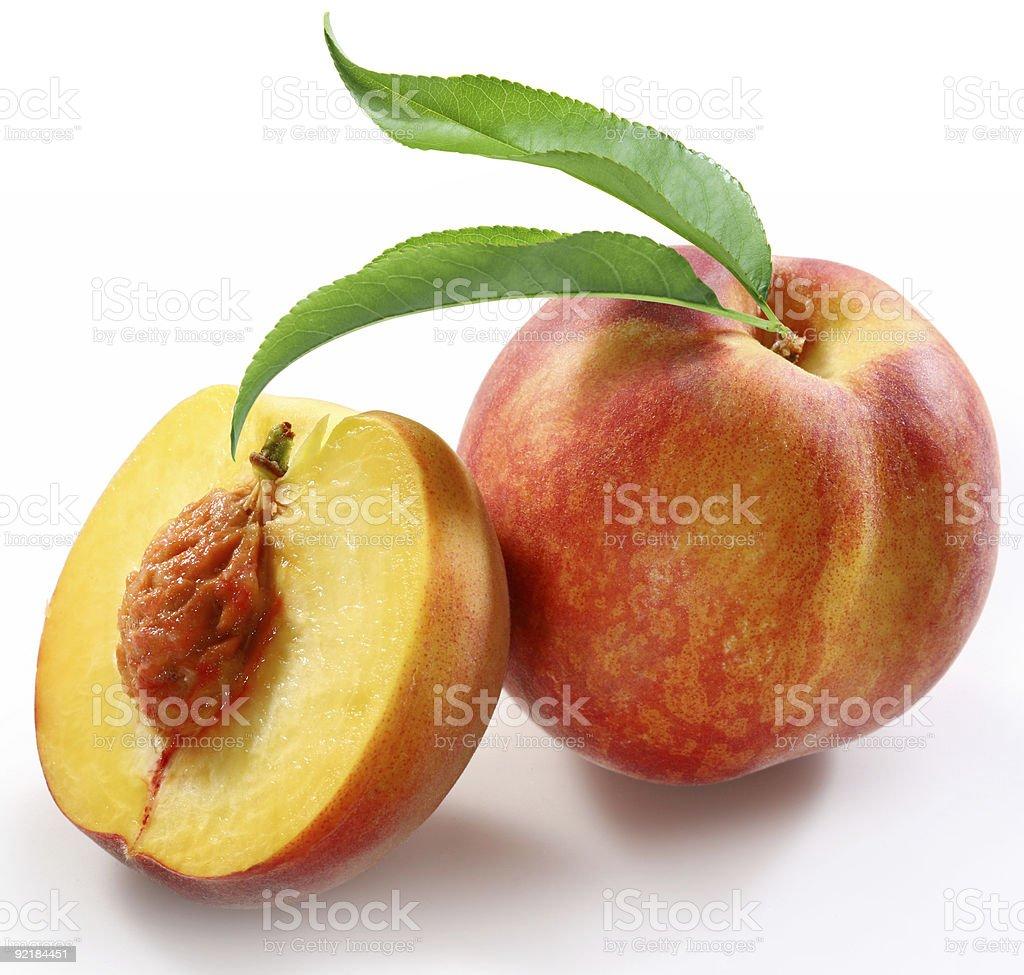 Peaches on a white background royalty-free stock photo
