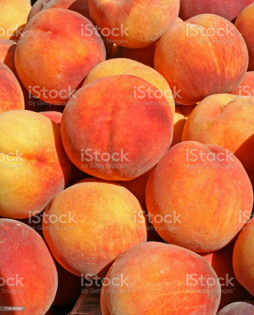 Peaches on Display at the Farmer's Market royalty-free stock photo