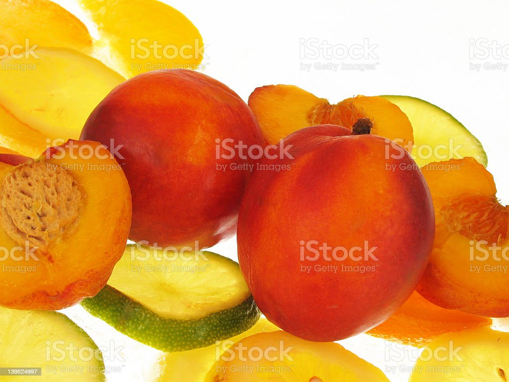 peaches on  ice background stock photo