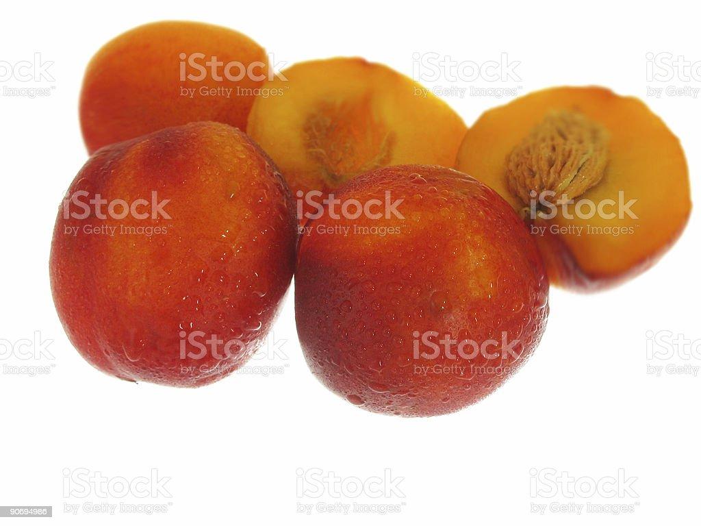 peaches on white background stock photo
