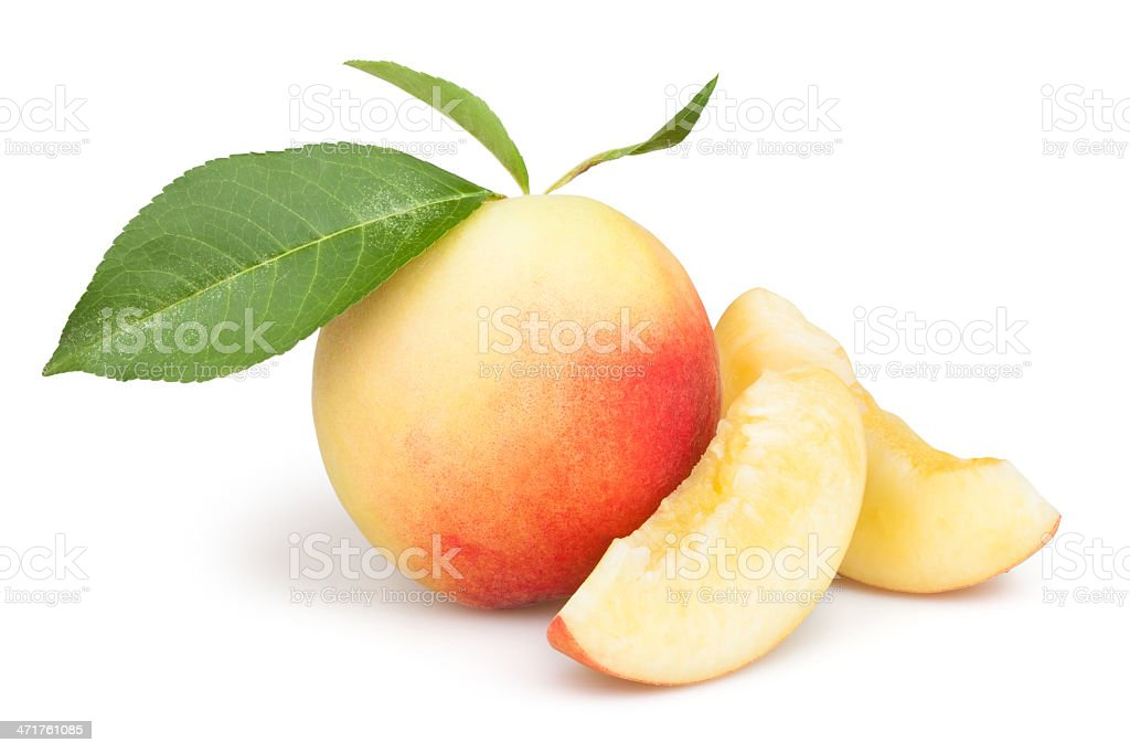 peaches slice group leaves stock photo