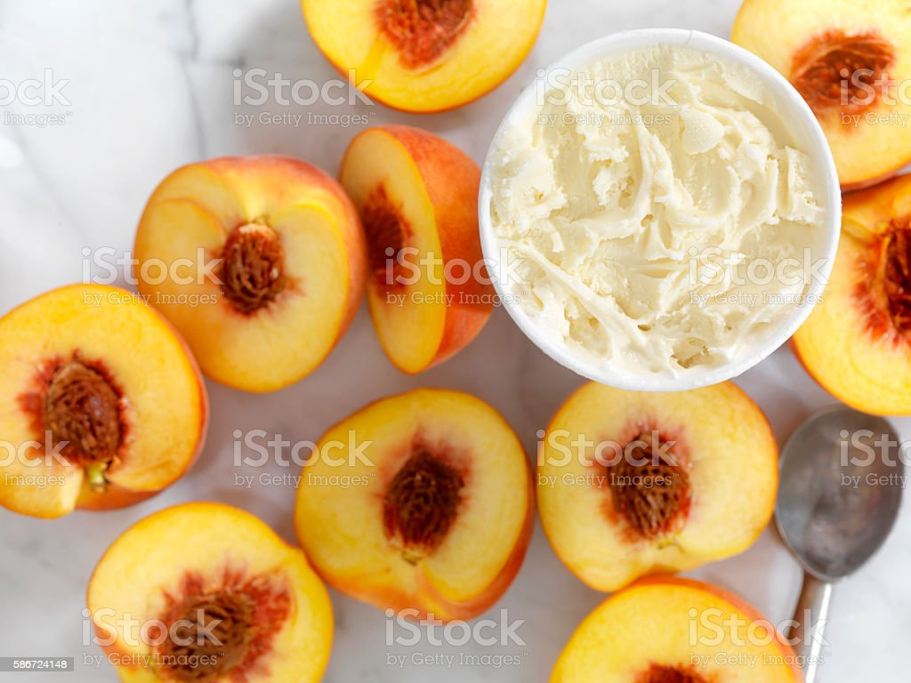 Peaches with Vanilla Ice Cream stock photo