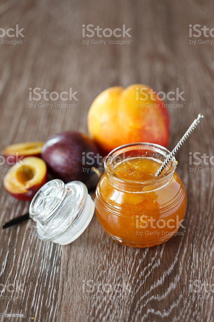 Peach-plum homemade jam with vanille royalty-free stock photo