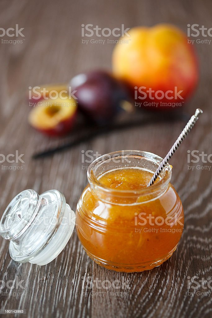 Peach-plum homemade jam with vanille royalty-free stock photo