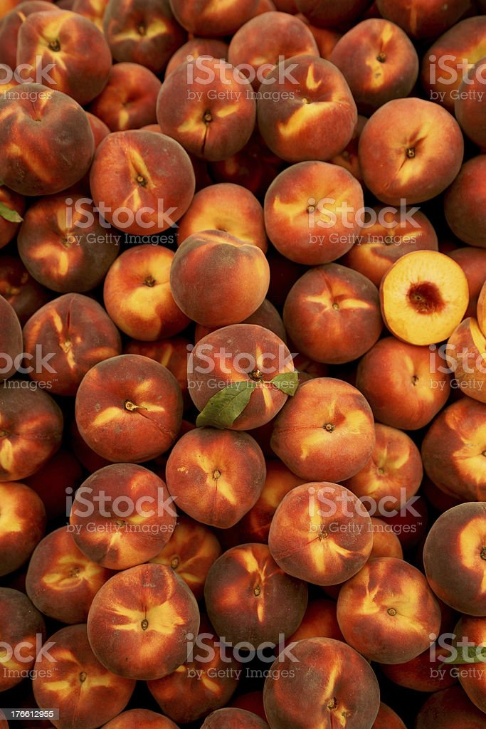 peachs in Farmers Market royalty-free stock photo