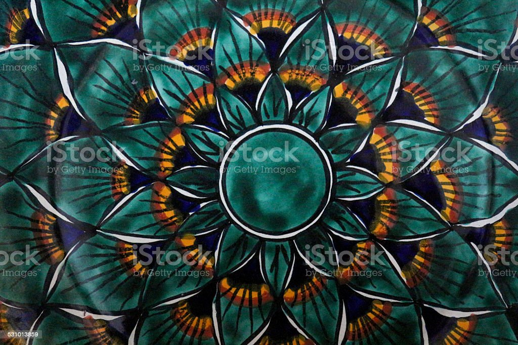 Peacock Feather Pattern Plate Abstract stock photo