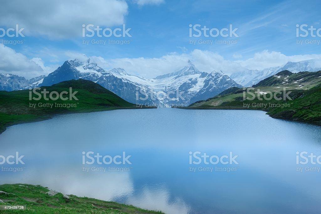 FIRST peak and lake of the Interlaken in Switzerland stock photo