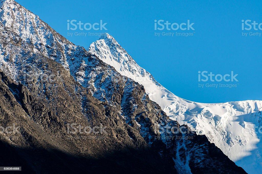 Peak Beluha mountain in Altai stock photo