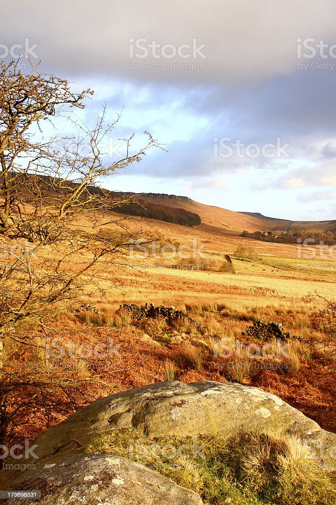 Peak District  at Sunset, Stanage Edge stock photo