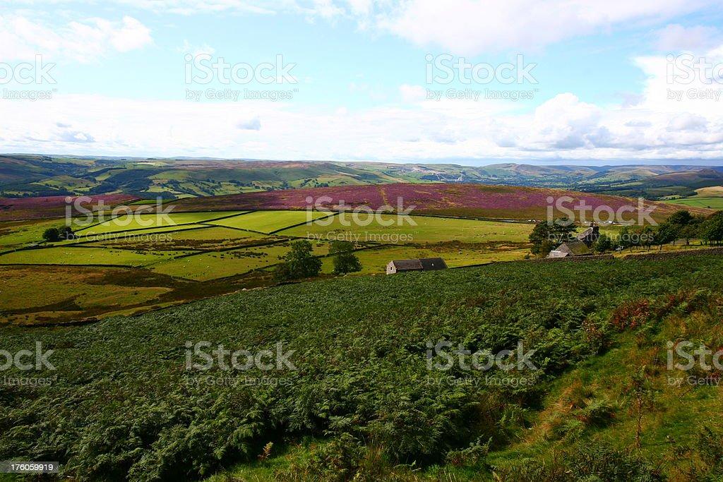 Peak District National Park, vista of Hope Valley stock photo
