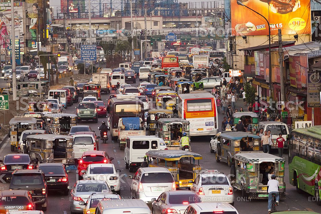 Peak hour in Metro Manila stock photo