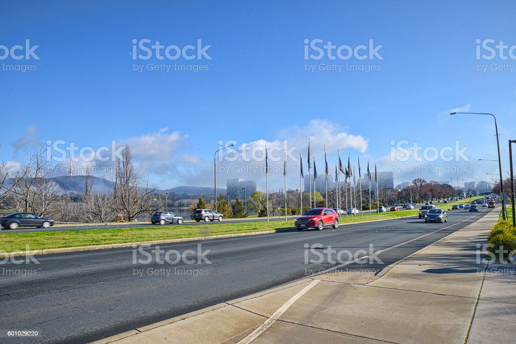 Peak hour traffic on Commonwealth Avenue in Canberra stock photo