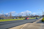 Peak hour traffic on Commonwealth Avenue in Canberra
