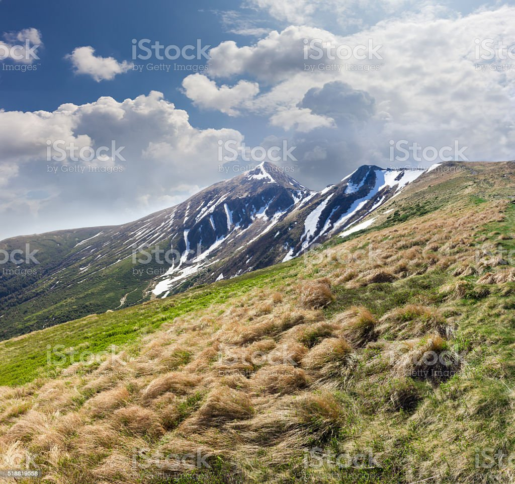 Peak in the Carpathian Mountains in early spring stock photo