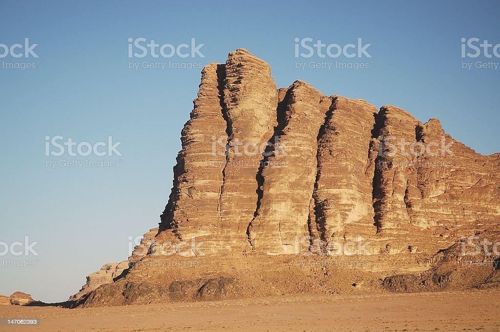 Peak named Seven Pillars of Wisdom, Jordan royalty-free stock photo
