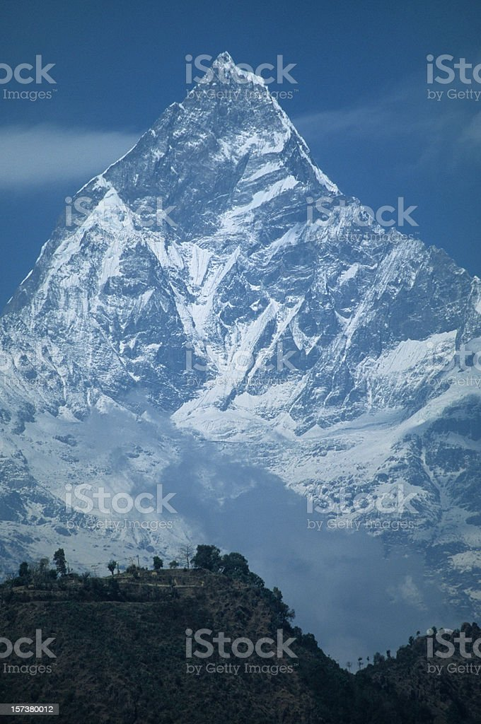 Peak of Machhapuchare from Pokhara, Nepal royalty-free stock photo