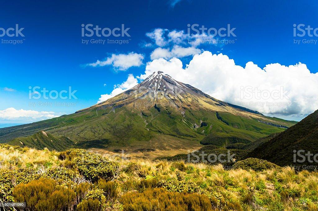 Peak of Mount Taranaki stock photo