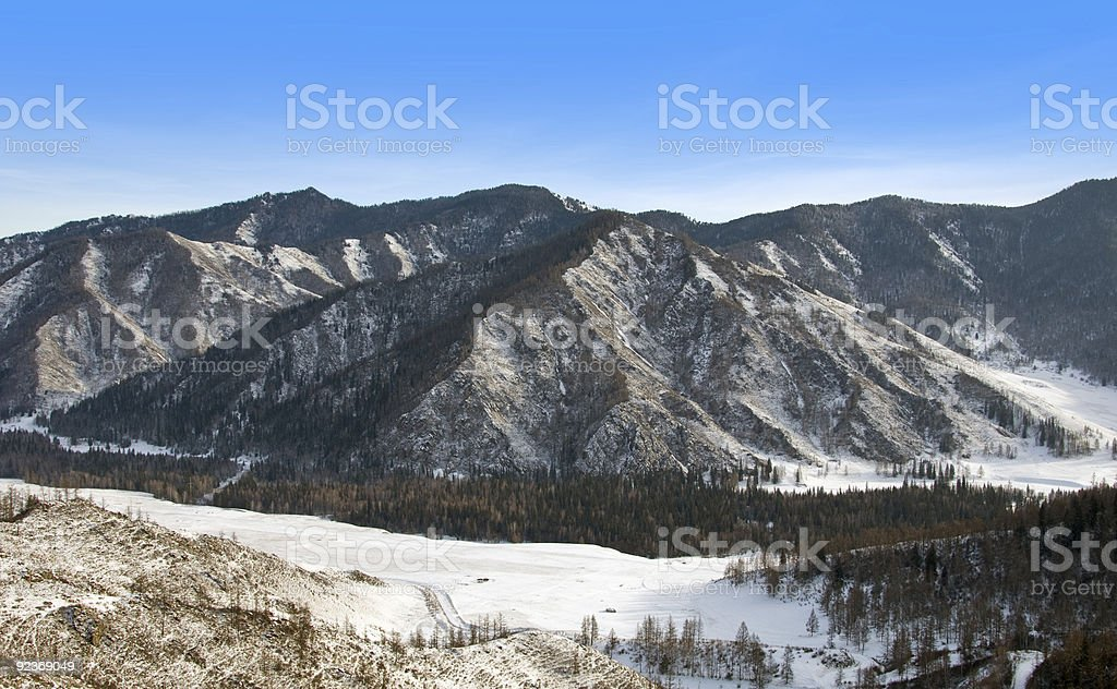 Peak of mountain. Clear blue sky. royalty-free stock photo