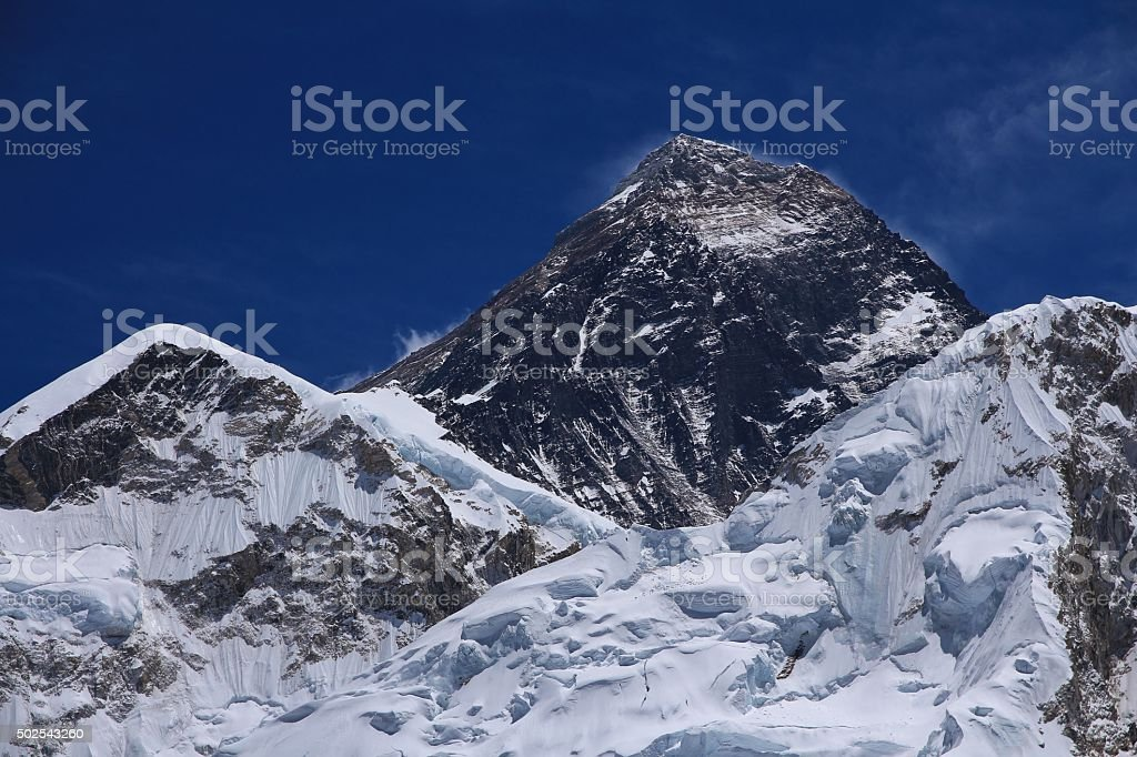 Peak of Mt Everest, view from Kala Patthar stock photo