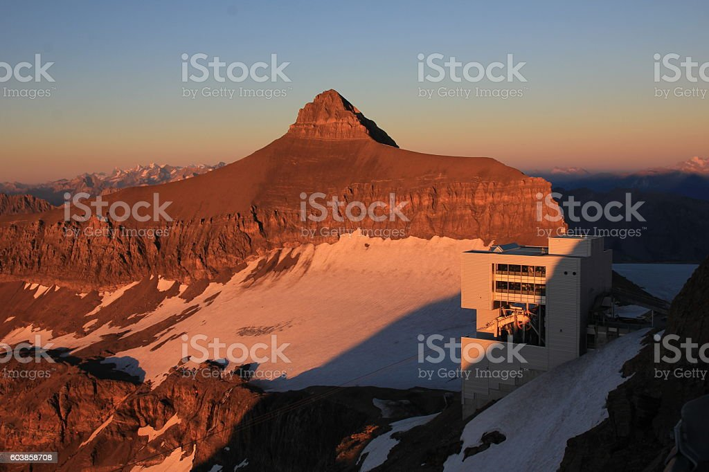 Peak of Mt Oldenhorn at sunset stock photo