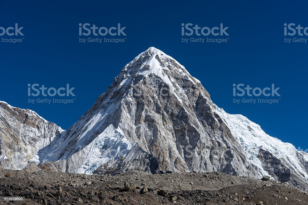 Peak of Pumori mountain, Everest region stock photo