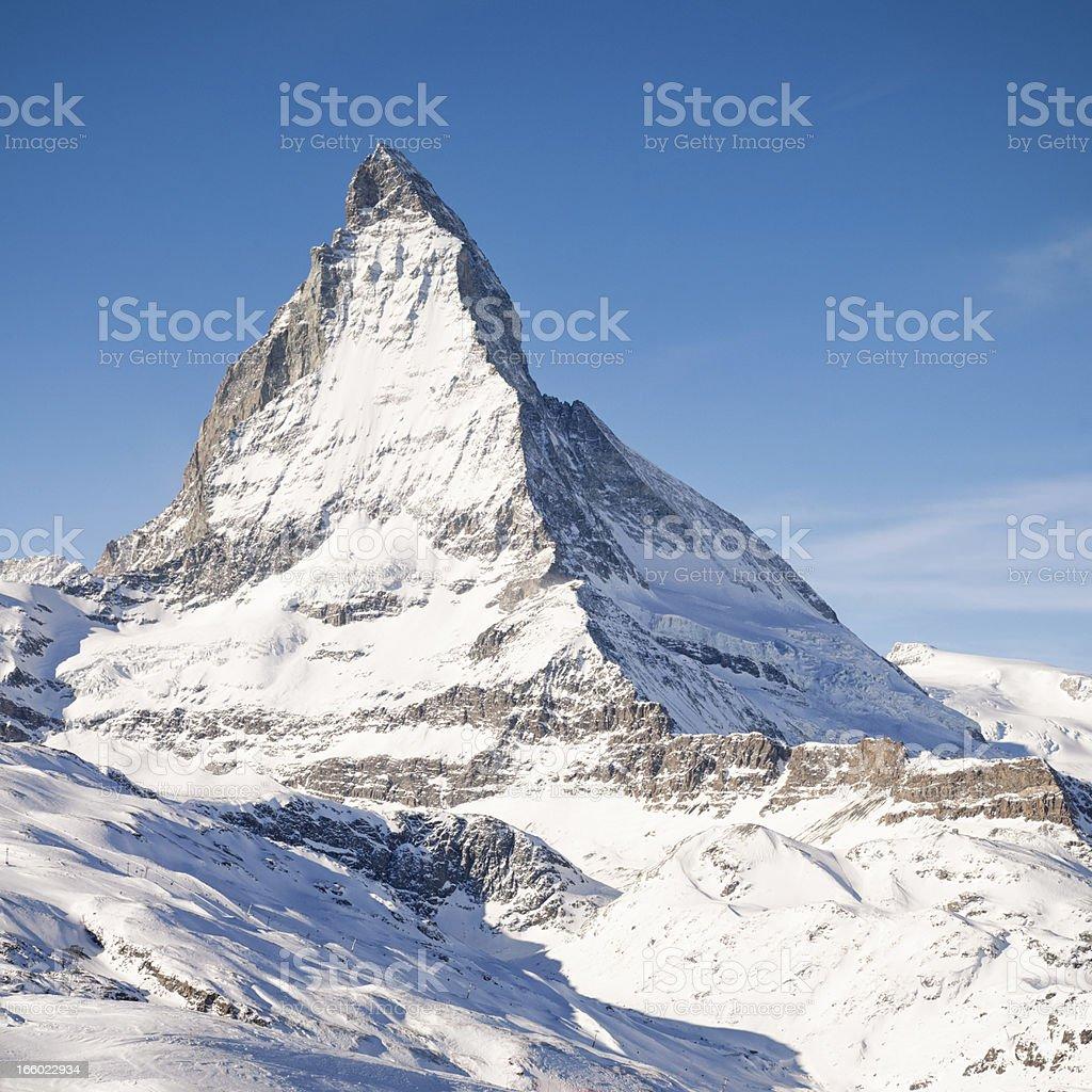 Peak of the Matterhorn stock photo
