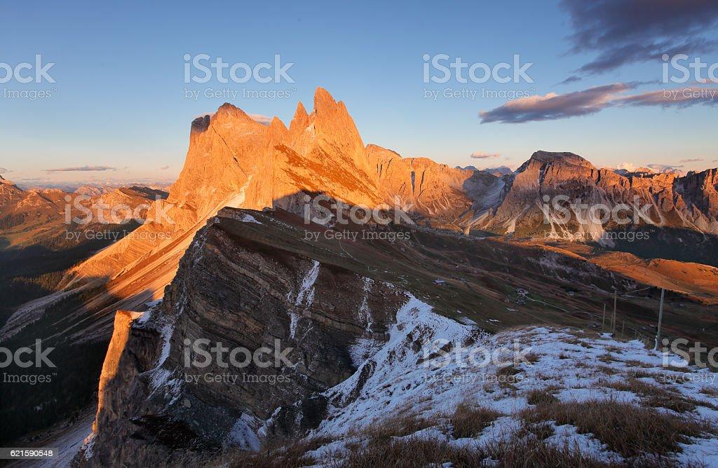 Peak Seceda hills at Val Gardena Dolomites Italy stock photo