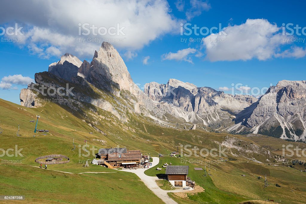 peak Seceda landscape stock photo