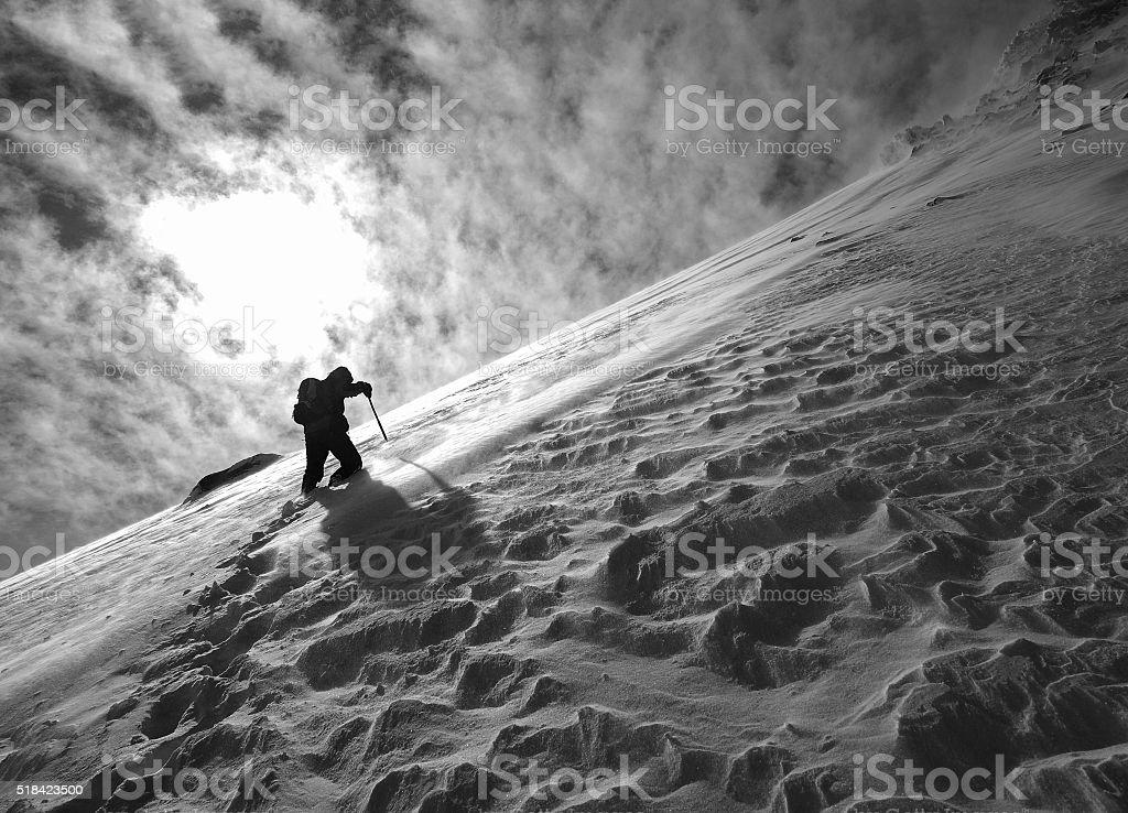 peak struggle stock photo