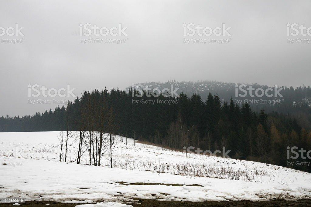 Peak Szczeliniec Wielki in Mountains Table, Poland stock photo