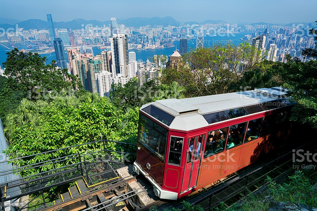 `Peak Tram` in Hong Kong stock photo
