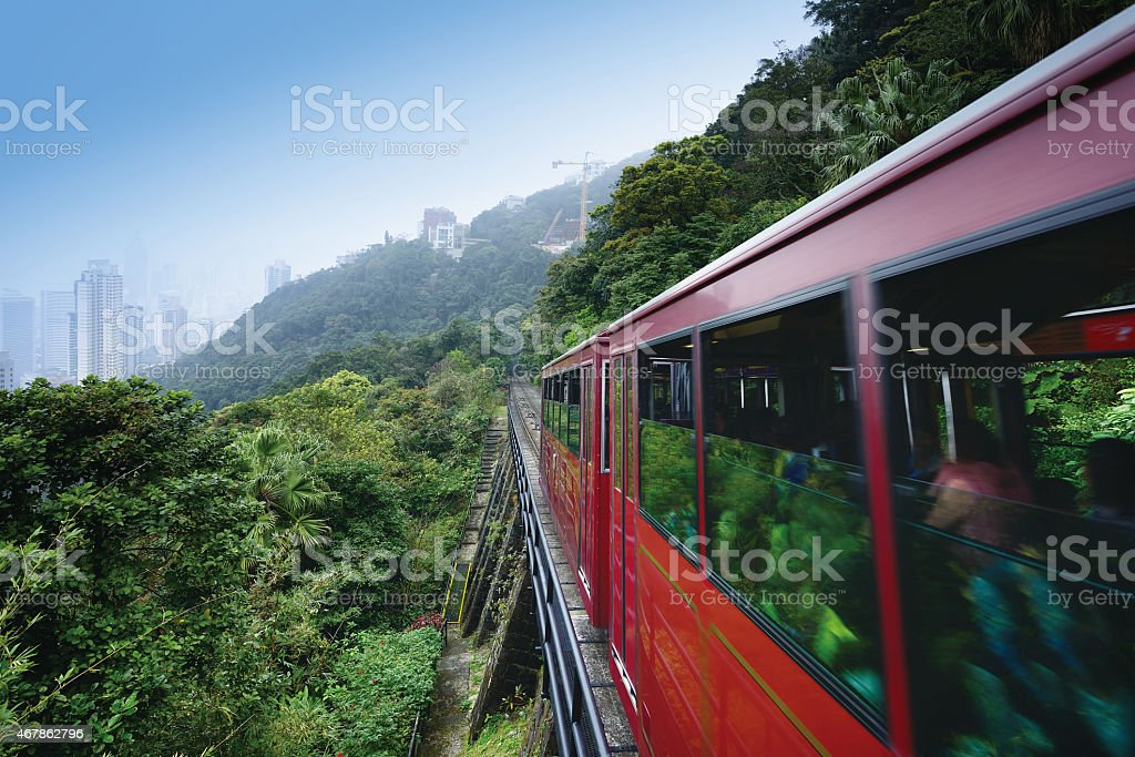 Peak tram in the victoria peak, Hong Kong stock photo