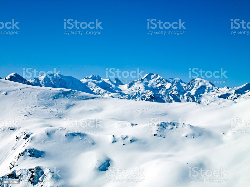 Peak view of Glacier Piz Bernina on a sunny day stock photo